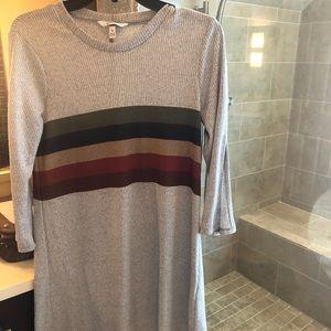 Rainbow Striped Gray Dress